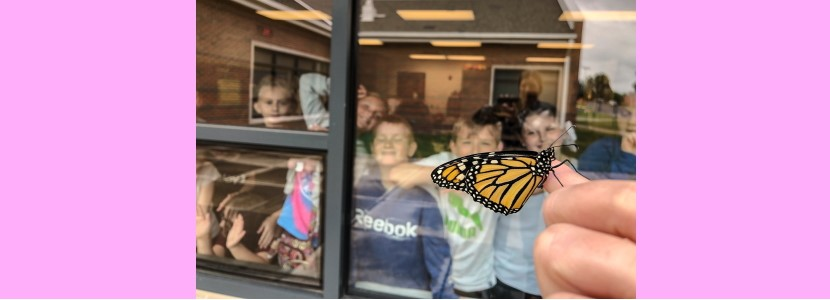 Mrs. Hornsby's students watch as she releases a butterfly they raised.