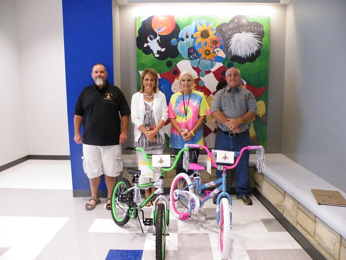 CD Ward Masonic Lodge donated one boy and one girl bike to be given away at the end of the year.  Any student with 100% attendance will be entered into the drawing.