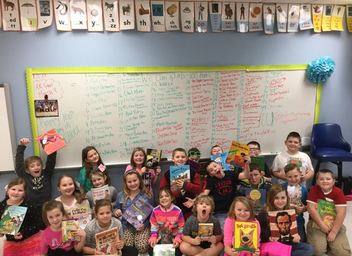 Ms. Smith's class read 100 books for the 100th day!!