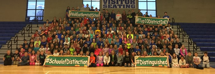 3rd-8th grade East Bernstadt Wildcats showing District of Distinction banners for 2017