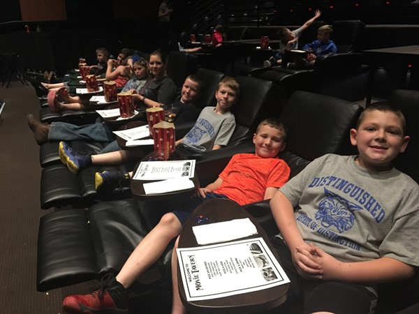 3rd-8th Grade students who reached their End of Year Accelerated Reader Goal went on a field trip to The Movie Tavern.